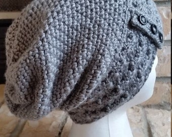 Two textured crochet slouchy beanie (grey heather) with buttons