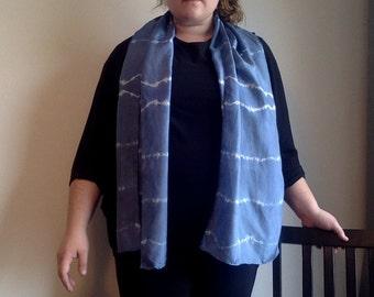 Hand Dyed Silk Scarf/ Hand Dyed Silk/ Blue Silk Scarf/ Large Silk Scarf/Shibori Silk/Habotai Silk Scarf