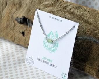 Aquamarine necklace stainless steel