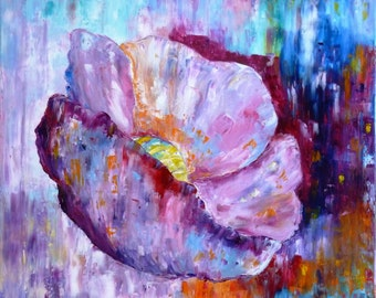 Table flower - table abstract flower - abstract - pink flower - painting flowers - flower poppy Oil - oil painting.