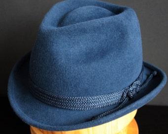 "Felt Hat ""Fedora Blue"", men's fedora hat in blue, Classic Fedora Hat"