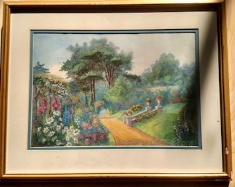 George S. Elgood Watercolor on Paper (Garden Scene) ca.1900