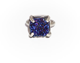 Silver.925 with blue drusy agate stone ring.