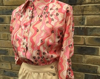 Vintage Foliage print seventies blouse