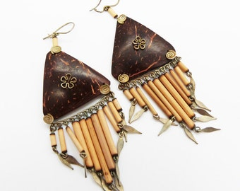 Handmade Triangle Earrings made from recycled Items