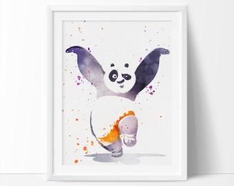 Kung fu panda print, Watercolor Art, Disney print, Watercolor Art, Kids Printable Wall Art, Boys Wall Art, Nursery Decor, Instant Download