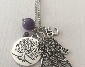 Vitange Silver Necklase with Pendants Hamsa Hand, Om,Tree Of Live,Czech bead