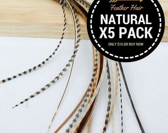 "5 pack Natural Feather Hair Extensions. 7""-12""+ in length. Salon Best Quality"