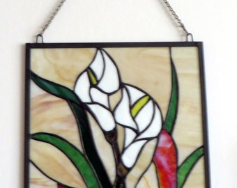 Vintage Stained Glass Panel of Flower and Butterfly