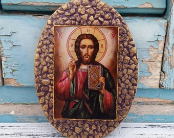 Mosaic Icon,Messiah Burgundy Wooden Icon,Jesus of Nazareth,Son of God,Holy Spirit,Handcrafted Orthodox Icon of Jesus,Religious Wall Decor