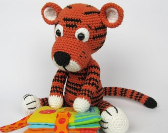 Tiger stuffed toy with rattle inside - organic cotton
