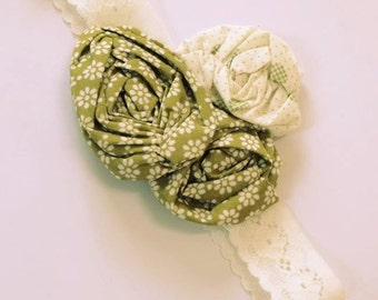 CREAM & GREEN FLoral Lace headband, size 0-6months
