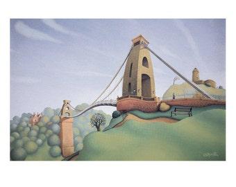Clifton Suspension Bridge - Blank Greetings Card - Bristol painting - City Art - Bristol Art
