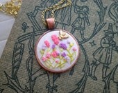 Mini Flower Garden & Bee Embroidery Necklace - Vintage Wildflowers Embroidered Pendant - Tiny Terrarium Rustic Fiber Art Nature Jewelry Gift