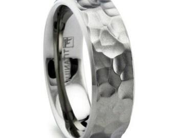 8mm hammered titanium mens wedding band with matte finish