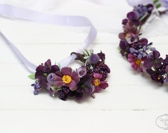 Ready to ship Flower bracelet Wrist corsage Bridal flower accessories  Purple corsage Bridesmaids corsage Flower corsage