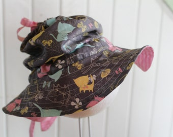 Hat was child daughter girl Sun adjustable ponytail size unique 2-6 years