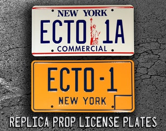 Ghostbusters 1 & 2 / ECTO-1 + ECTO-1A *Metal Stamped* Replica Prop License Plate Combo