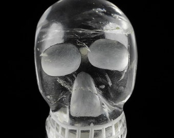 One CLEAR QUARTZ Crystal Skull - Hand Carved Quartz Skull, Wire Wrapped Jewelry, Skull Pendant, Crystal Jewelry, Skull Jewelry Making E0051