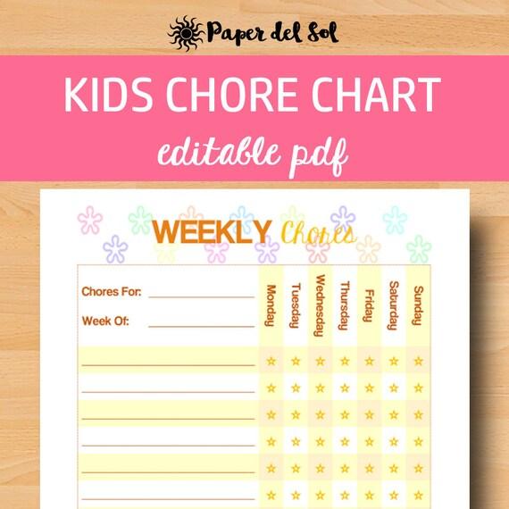 editable chore chart kids chores printable kids chore chart