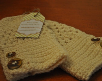 Beige Fingerless Gloves with Multicolor Buttons 15264