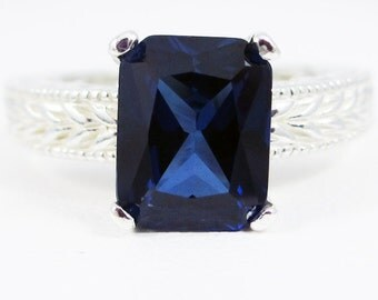 Emerald Cut Blue Sapphire Engagement Ring Sterling Silver