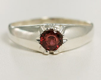 READY TO SHIP Size 14 - Garnet Ring Sterling Silver, January Birthstone Ring, Garnet Men's Ring
