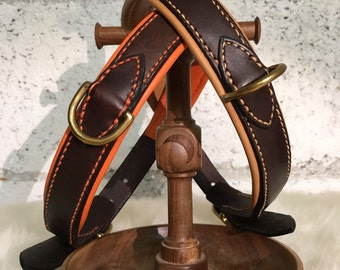Hand-stitched leather dog collar / handmade leather collar
