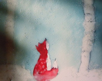 "encaustic painting print 6x6 8x8 unmatted or matted 12x12 inch Fox in the Snow"" 160109p"