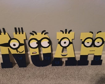 Minion Wood Letters or Numbers, Personalized Name, Numbers, or Initials