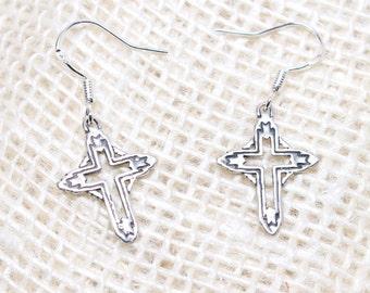 Sterling Silver Cross Charm Earrings