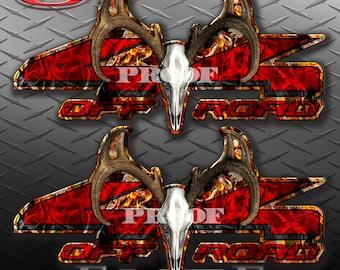 4x4 Buck Skull Obliteration Buck Blaze Camo Camouflage Truck Bed Vinyl Decal Sticker - PAIR
