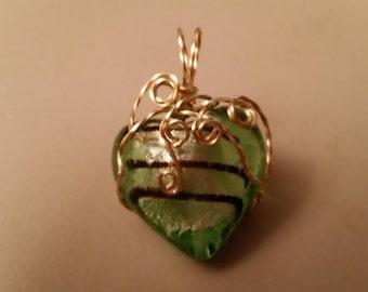 Heart in Brass Wire Green/Black Striped Puffy