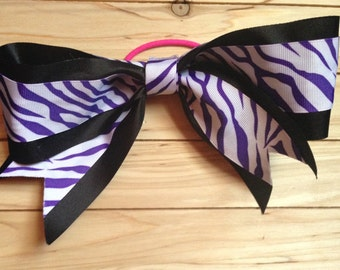 Purple Zebra Cheer Bow
