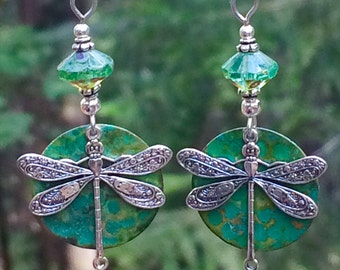 Unique dragonfly earrings, Silver dragonfly earrings, verdigris patina, sterling silver, dragonfly jewelry