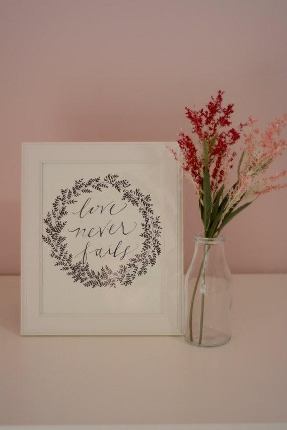 hand drawn wall art 1 corinthians 13 8 love never fails. Black Bedroom Furniture Sets. Home Design Ideas