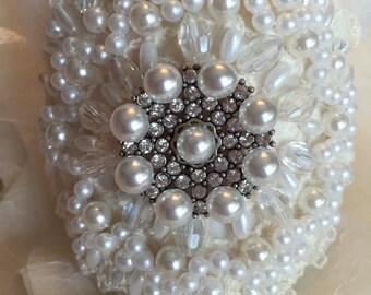 Vintage Lace Pearl Bridal Cuff