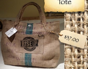 Medium Coffee Bean Burlap Tote