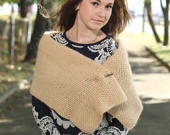 Angora winter shawl Knitted shawl Gift for her Holiday gift Handmade scarf Handmade shawl Beige warm wrap Yellow shawl Hand knit shawl