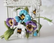 Silk flowers, heart's ease, floral brooch, silk kiss-me-quick, flower accessories,wedding flowers, flower broochs, silk flowers hair clip