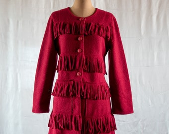 Coat red wool porridge