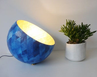 Table lamp, paper mache, blue and gold