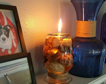 Oil burning lamp/candle with decorative spheres