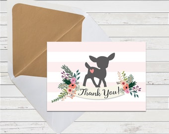 Thank You Card - Pink Woodland