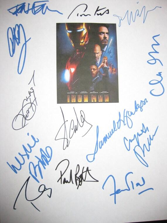Iron Man Signed Movie Film Script Screenplay X13 Robert Downey Jr Stan Lee Samuel L Jackson Gwyneth Paltrow Jeff Bridges Terrence Howard
