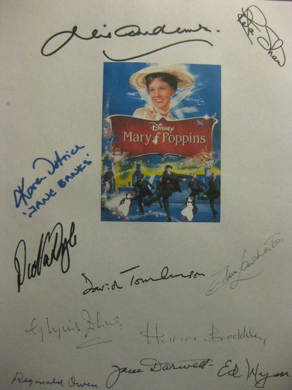 Mary Poppins Signed Movie Film Script Screenplay X11 Autograph Signatures Dick Van Dyke Julie Andrews David Tomlinson Ed Wynn Glynis Johns