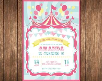 Circus Birthday Invitation, Pink Circus Invitation, Circus Invitation, Circus Birthday Invitation, Girl Circus Invitation, Carnival Invite