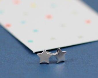 Silver Star Earrings - Tiny Star Earrings- Dainty Star Earrings - Simple Earrings -  Stainless Steel Earrings