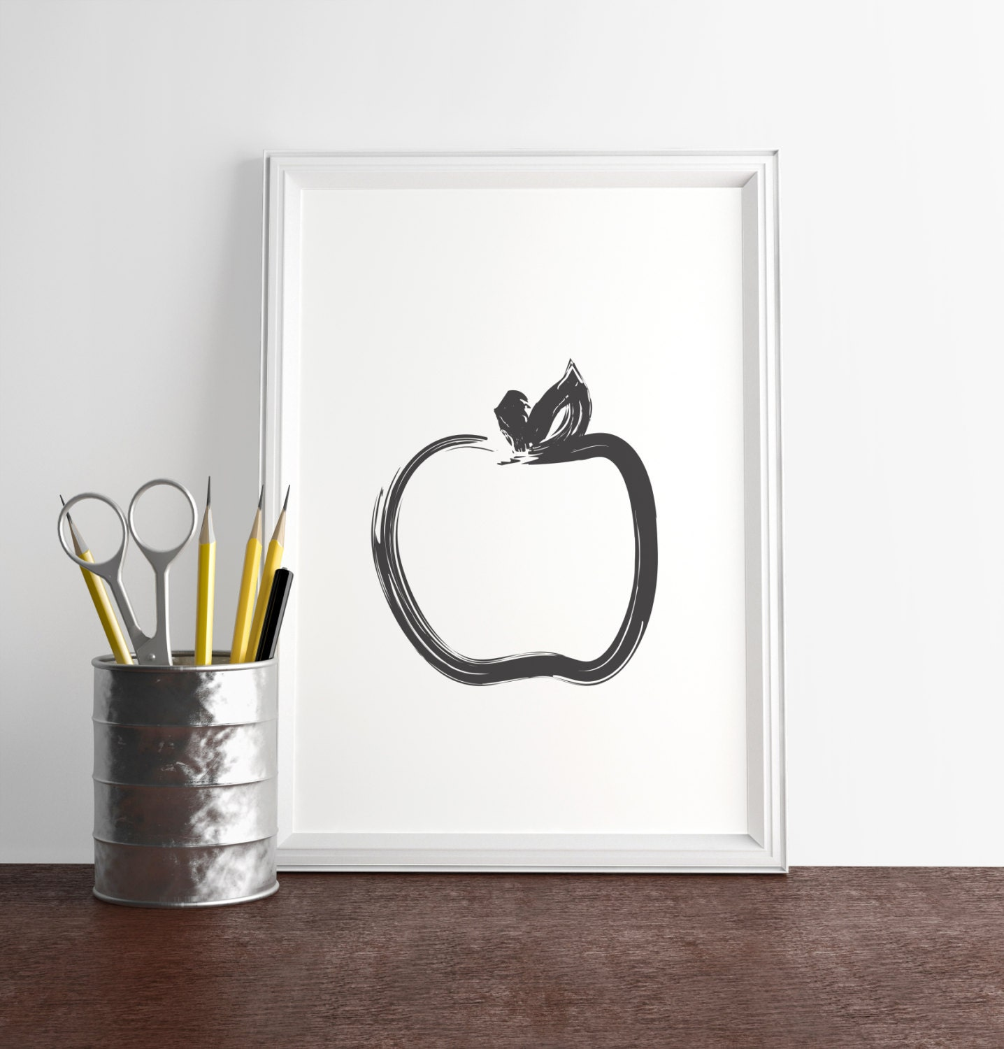 Black apple print minimal wall decor modern kitchen art for Minimal art wall