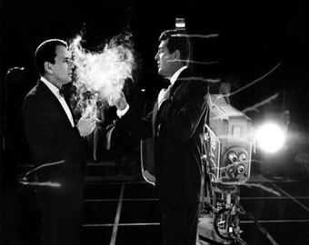 Frank Sinatra and Dean Martin at NBC Studios, ca. 1962 - Vintage - Art - Photo - Print - Photograph - Rat Pack - Hollywood - Music - Jazz